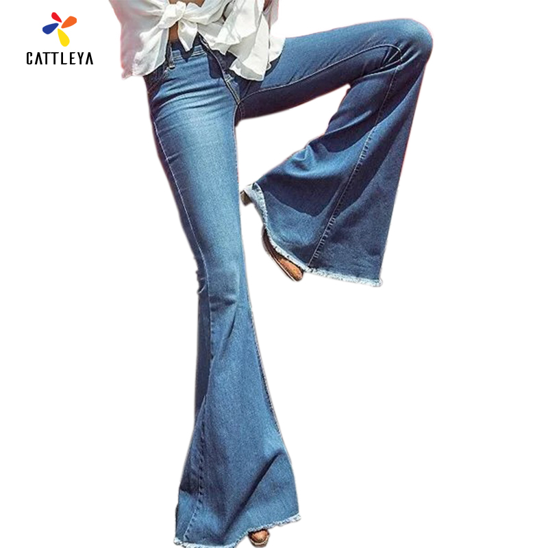 Vintage Middle Waist Elastic Flare Jeans Trouser Women Retro Style Bell Bottom Skinny Jean Female Dark Blue Wide Leg Denim Pants women girls casual vintage wash straight leg denim overall suspender jean trousers pants dark blue