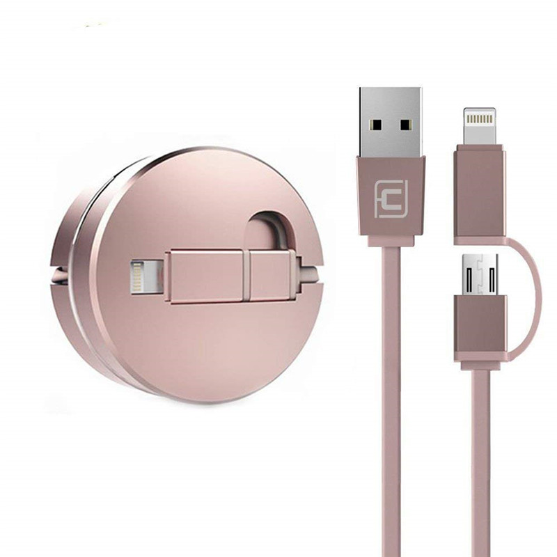 IOS Phone Retractable MicroUsb Cable 2 in 1 Synchronous and Charging High Speed Adapter Cable for iOS Android