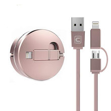 IOS Phone Retractable MicroUsb Cable 2 in 1 Synchronous and Charging High Speed Adapter Cable for iOS Android(China)