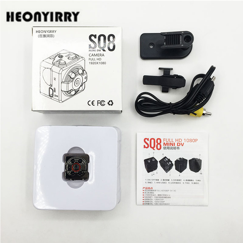 SQ8 Mini Car DVR Camera HD 1080P Camera Night Vision Mini Motion Detection Camcorder Class 10 Video Recorder Micro Car Camera ...