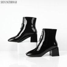 Женские ботильоны из натуральной кожи на толстом высоком каблуке; сезон осень-зима; женские модельные туфли для работы; Женские базовые ботинки на молнии