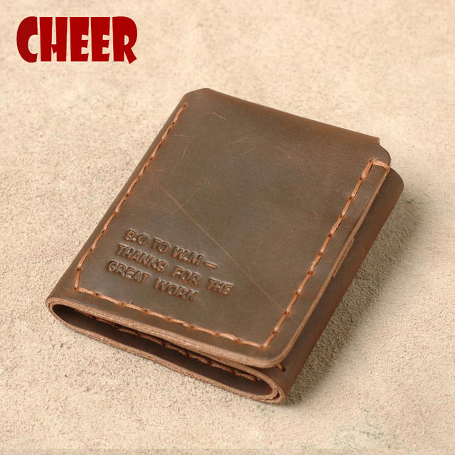 Men wallet genuine leather Crazy Horse Leather Men Wallets With Card Holder Vintage Man Purses For Designer Luxury new Year gift