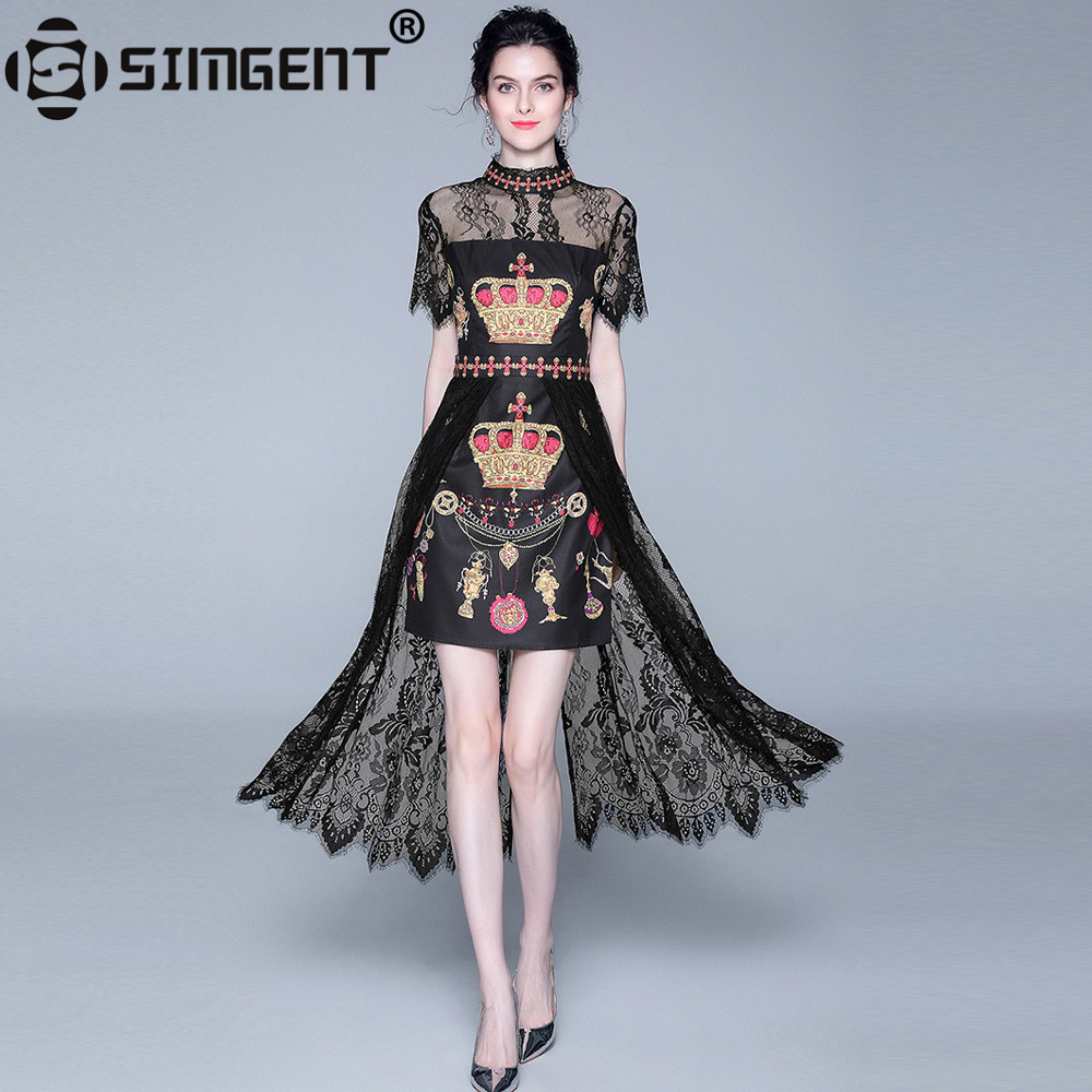 Simgent Women Vintage Elegant Dress Summer Printing Stand Collar Lace Patchwork High Low Dress Womens Clothes Vestidos SG9722
