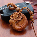1 pc llaveros 2016 Fashion llaveros Wooden Dragon Carved KeyChain Chinese lucky animal car Pendant Charming Keychain