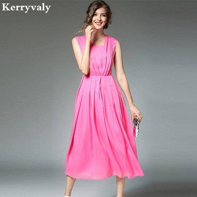 High end Summer Rose Long Party Dresses Jurken 2018 Zomer Dames Big ...