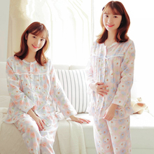 Spring Women Sleepwear Long Sleeve Nightgown for Pregnant Mother Nursing Pajamas Maternity Set Clothes
