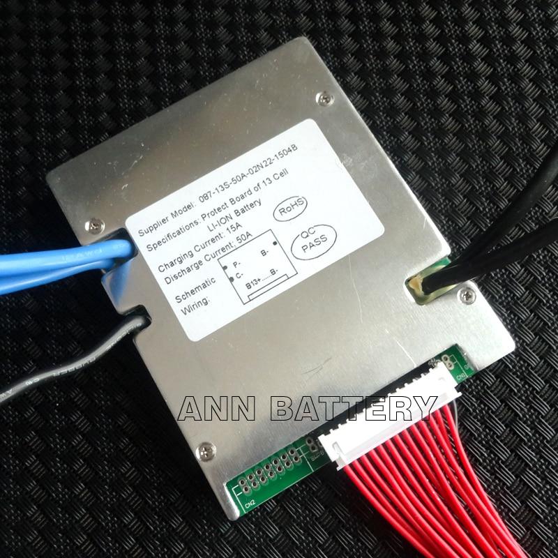 Celda de Li-ion 13 S 48 V 50A BMS 48 V 30Ah 40Ah 50Ah batería de iones de litio corriente de trabajo 50A 1500 W-2000 W con función balance