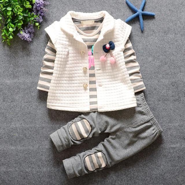 2016 новая мода красивая девочка девочка полосатый рубашка + костюм рубашка + брюки 3 P C S/дети 3 цвет бесплатно доставка