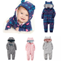 Baby Boy & Girl Carter Thick Rompers Long Sleeve with Hooded Cotton Zipper O-neck Pajamas & Rompers Baby Jumpsuit Ropa Bebes