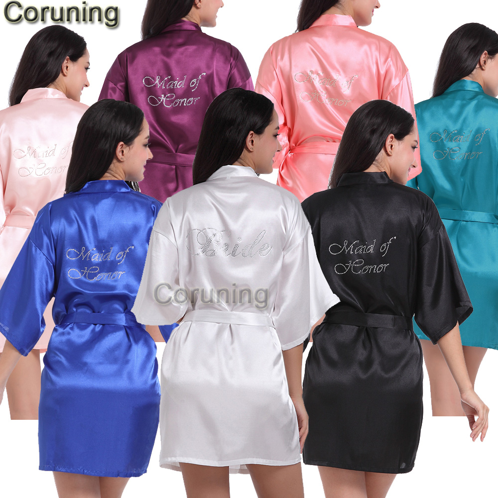 RB89  Rhinestone Letter Bride Robes Bridesmaids And Maid Of Honor Robes Sleepwear Nightwear Wedding Bathrobe Night Dress Gown