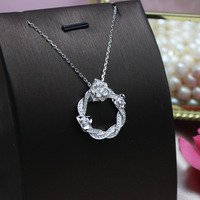 Fashion temperament silver necklace female 925 sterling silver full drill camellia necklace pendant jewelry