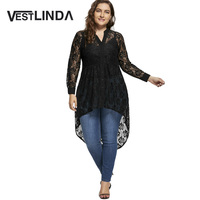 VESTLINDA Plus Size Lace Blouse Women Top Long Sleeve V Neck High Low Hem Black Shirt