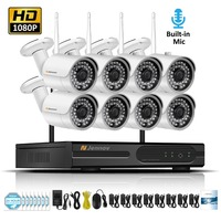 8CH 1080 P 2MP Беспроводной безопасности Камера s для дома IP Камера видеонаблюдения Системы NVR комплект Wi Fi аудио записи комплект видеонаблюдения