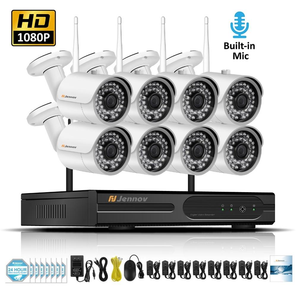 цена на 8CH 1080P 2MP Wireless Security Cameras For Home IP Camera Video Surveillance System NVR Kit Wifi Audio Record CCTV Set Kamera