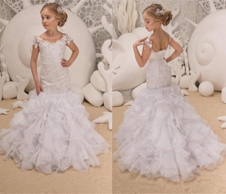 Heerlijk Sheer Naakt Tulle Wit Mermaid Bloem Meisje Jurken Lace Up Back Peuter Eerste Communie Gown Voor Wedding En Party Met Ruches