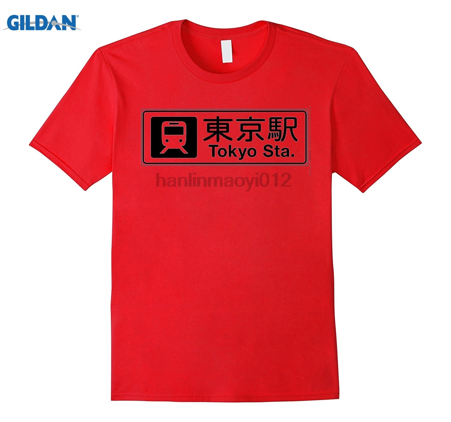GILDAN Dicky Ticker Tokyo City Station T-shirt Train Womens T-shirt