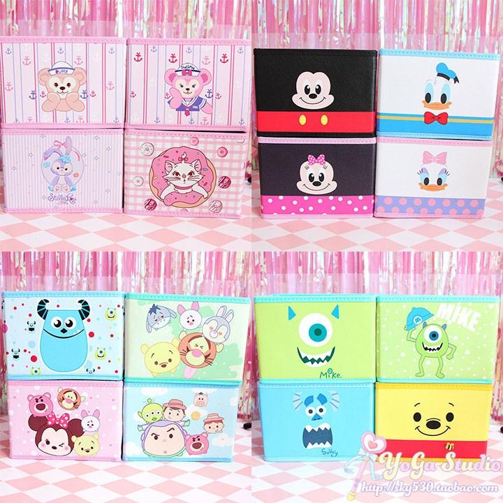 Cartoon Duffy Bear Stellalou Mickey Minnie Donald Duck Daisy Monsters University Cute Cosmetic Bags Toy Folding Storage Box Bag