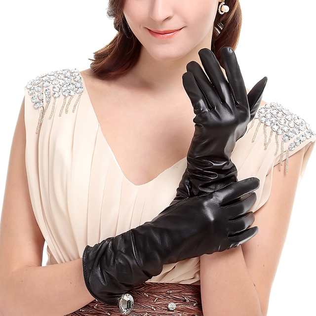 KURSHEUEL Luxury Winter Women Long Leather Gloves High Quality Evening Party Genuine Leather Warm Driving Glove Female Mittens