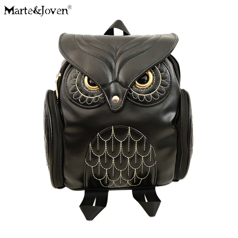 Personalized Design Black PU Leather Owl Backpacks for Women Lovely Animal School Backpack Girls High Quality Mochila Knapsack