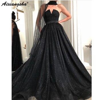 Black Long Dress 2019 Ball Gown Glitter V-neck Sleeveless Floor Length Evening Gown suknie wieczorowev Lace Tulle robe de soire