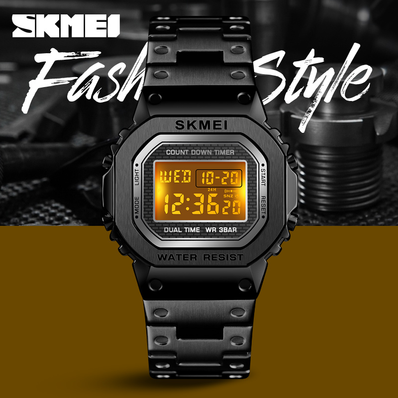 2019 <font><b>SKMEI</b></font> Fashion Style Sport Watch Men Digital Watches Waterpoof Alarm Clock Alloy Case Digital Men Watches Reloj Hombre image