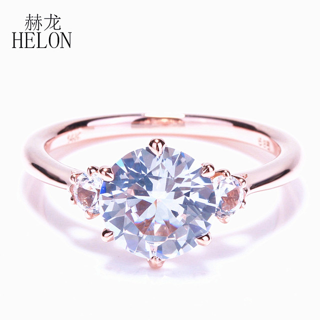 HELON SPECIAL ! SOLID 10K ROSE GOLD THREE STONE 2.4ct WHITE TOPAZ ROMANTIC ENGAGEMENT WEDDING FINE RING WOMEN'S JEWELRY RING