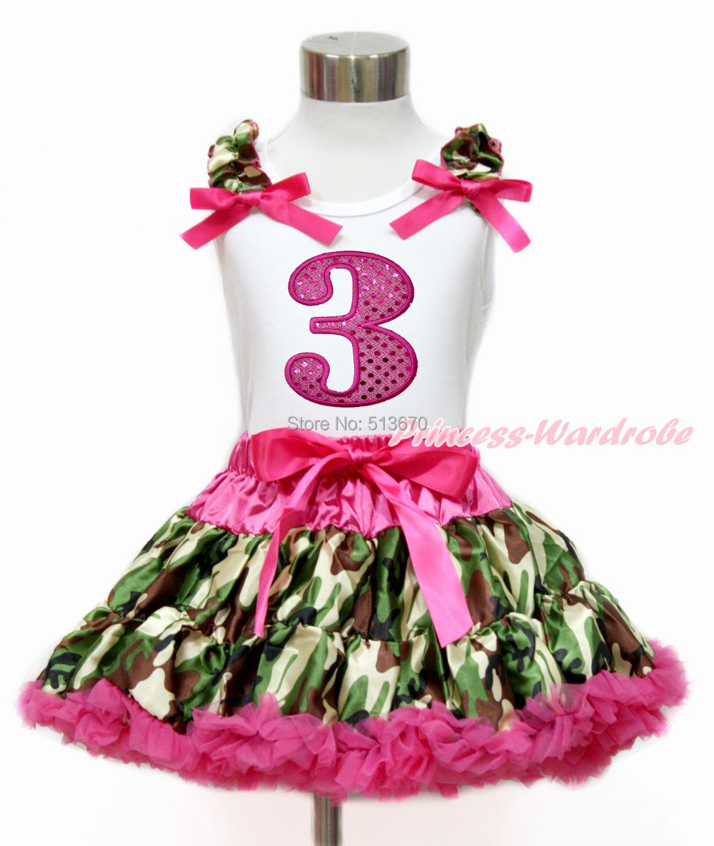 Hot Pink Sparkle 3RD White Top Camouflage Pettiskirt Set 1-8Year MG1214
