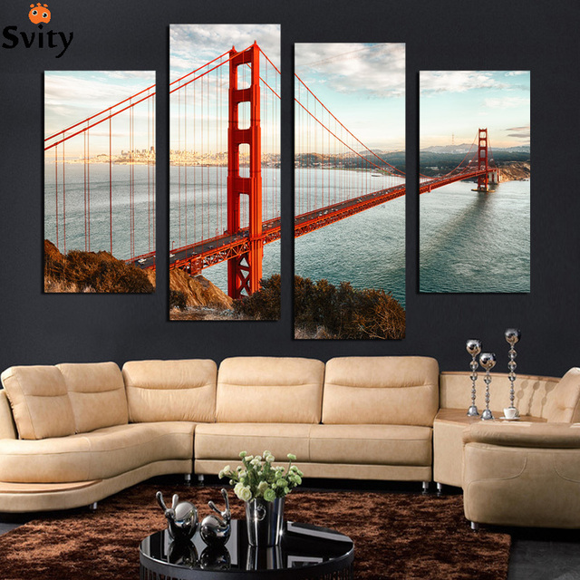 Unframed 4 Pcs Usa Famous Building Golden Gate Bridge Oil Painting