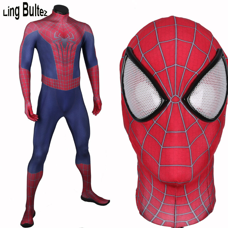 Ling Bultez 3D Print Amazing Spiderman Costume Adult 3D Print Movie Spider Man Spandex Suit Fullbody