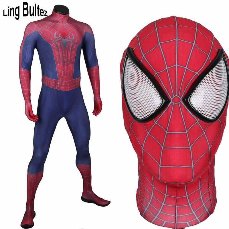 Ling Bultez 3D Print Amazing Spiderman Costume Adult 3D Print Movie Spider Man Spandex Suit Fullbody Halloween Party Costume