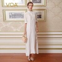 VOA Плюс Размер Свободное шелковое платье однотонное Белое Женское кружевное винтажное повседневное с коротким рукавом Элегантная лента дл