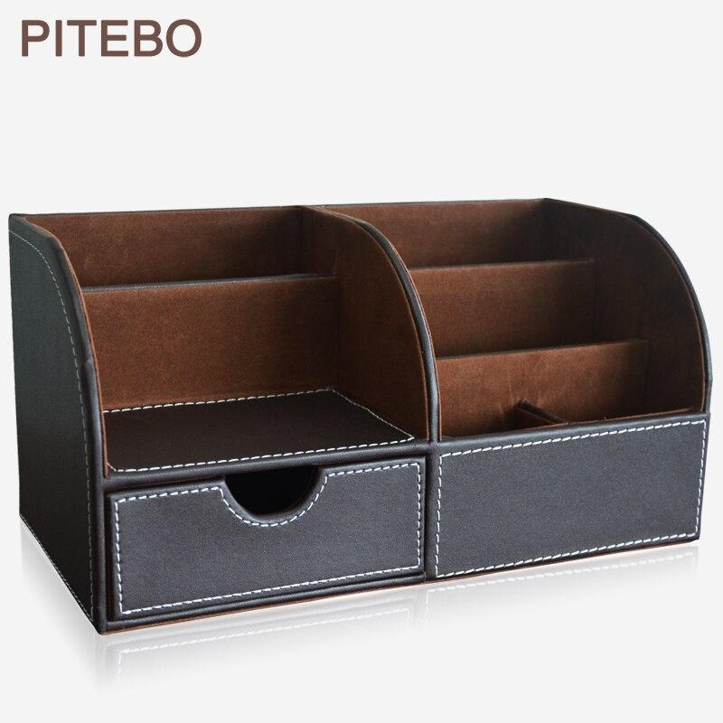 Pitpacket multi-fonction structure en bois en cuir bureau papeterie organisateur stylo porte-crayons boîte mallette de rangement conteneur brun