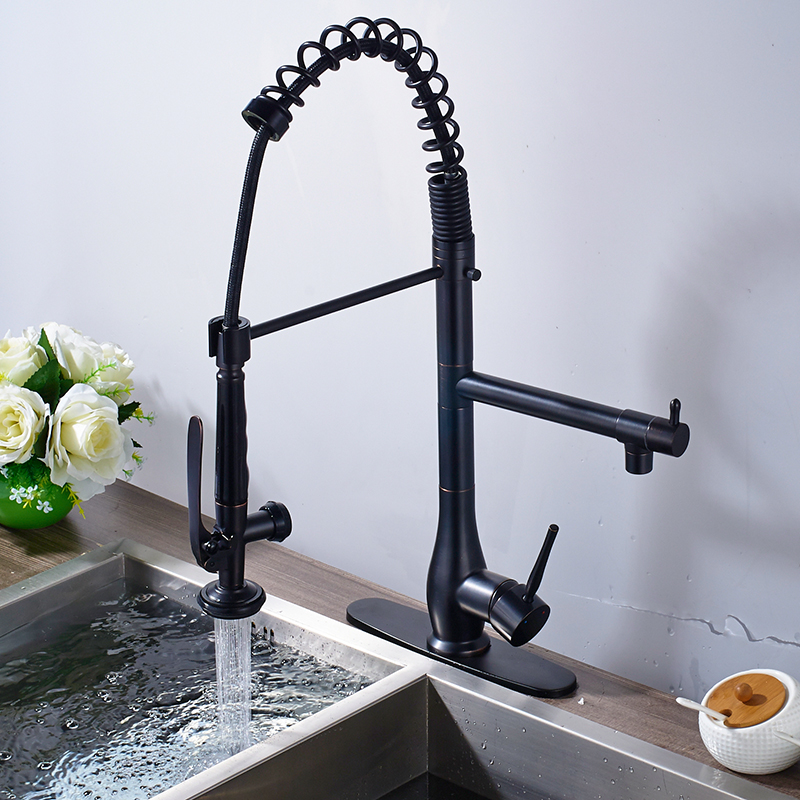 new superior quality heighten solid brass oil rubbed bronze kitchen faucet mixer tap sharp handle round cover plate