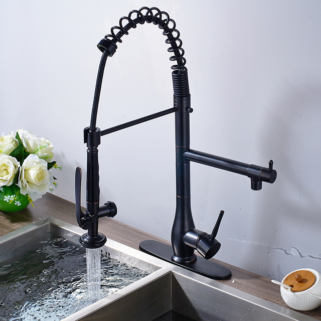 Oil Rubbed Bronze Kitchen Sink Ss Sinks New Superior Quality Heighten Solid Brass Faucet Mixer Tap Sharp Handle Round Cover Plate