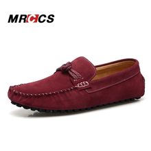 Vintage Knot Men's Loafers,Suede Leather Men's Moccasins, Designers Brand Casual Flat ,Classic Burgundy Red Boat Shoes MRCCS