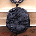 Drop Shipping Obsidian Jade Pendant Necklace Lucky Pendant Jewelry for Men Womens Pendnat
