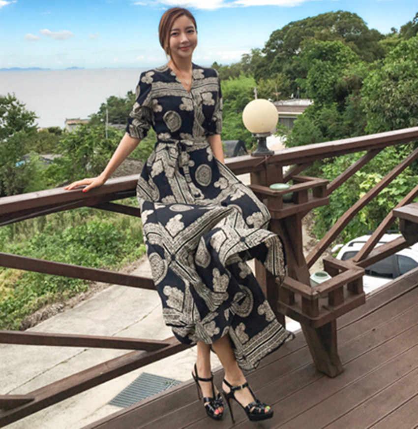 HAMALIEL женское шифоновое Бохо праздничное платье 2019 весенне-летнее платье с цветочным принтом и галстуком-бабочкой, длинное винтажное сексуальное платье с v-образным вырезом макси Vestidos