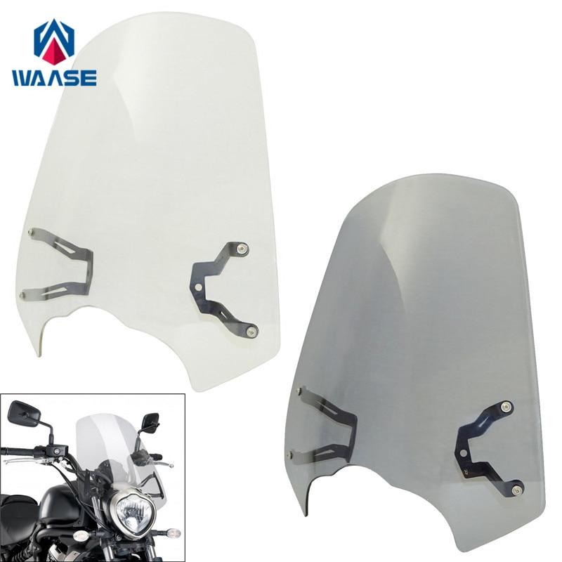 waase Motorcycle Windscreen Windshield Shield Screen With Bracket For Kawasaki Vulcan S 650 2015 2016 2017 2018
