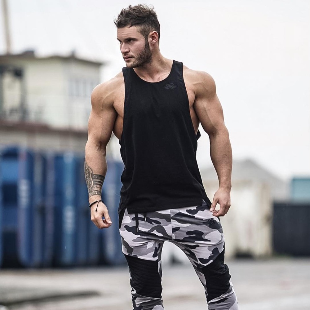 New Men Sporting Tank Tops Sleeveless Gyms Singlet Muscle Fitness Cotton Babybuilding Casual Slim Fit Gyms