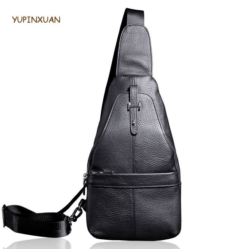 YUPINXUAN Mens Genuine Leather Chest Bags Black Cow Leather Messenger Bags Male Crossbody Bag Small Cowhide Travel Packs Russian yupinxuan vintage cow leather messenger bag for men luxury crocodile grain chest bags cowhide crossbody bag chest packs russian
