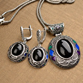 Pinannie Antique Silver Plate Bohemia Necklace/earrings Vintage Jewelry Set for Women
