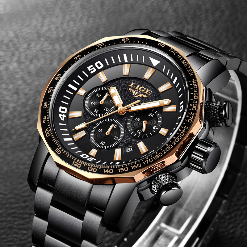 LIGE Top Luxury Brand Mens Sprot Quartz Watch Business Big Dial Fashion Casual Waterproof Full Steel Black Watches Male Clock epozz brand new quartz watch for men big dial waterproof stainless steel watches classic casual top fashion luxury clock 1602