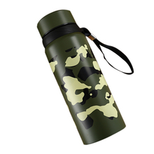 600/800ml Vacuum Flask Creative Sports And Leisure Camouflage Mug Quality Stainless Steel Lanyard Accompanying Cup