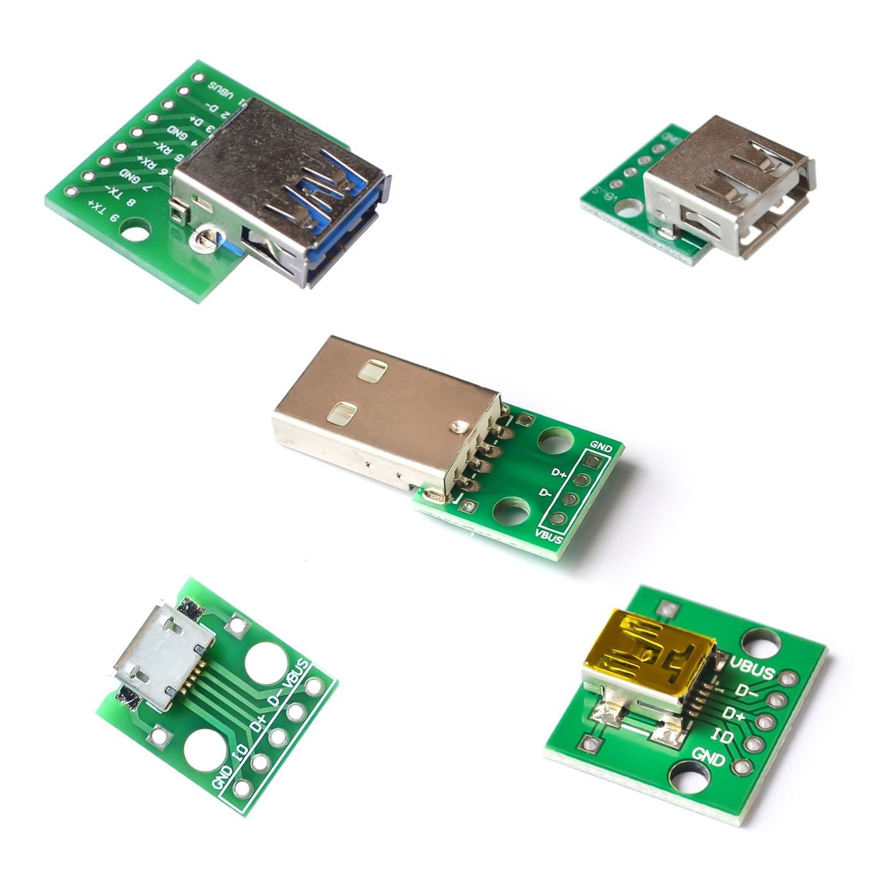 5PCS/LOT Micro Mini USB USB A Male USB 2.0 3.0 A Female USB B Connector Interface To 2.54mm DIP PCB Converter Adapter Breakout