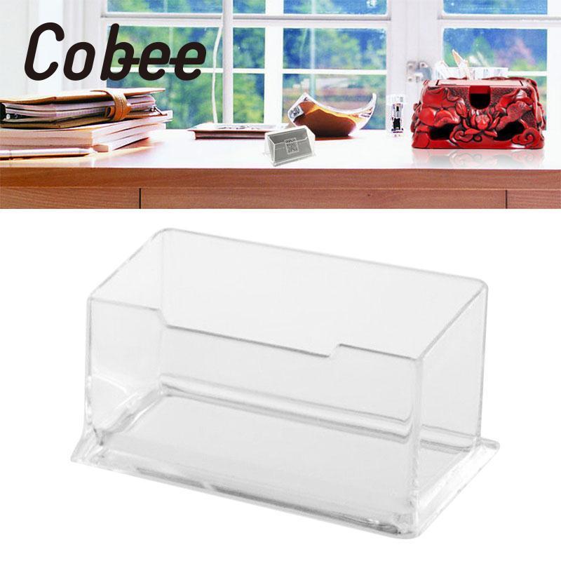 Cobee Acrylic Portrait Desktop Business Card Box Boxes Postcards Transparent Holder Home Office School Supplies