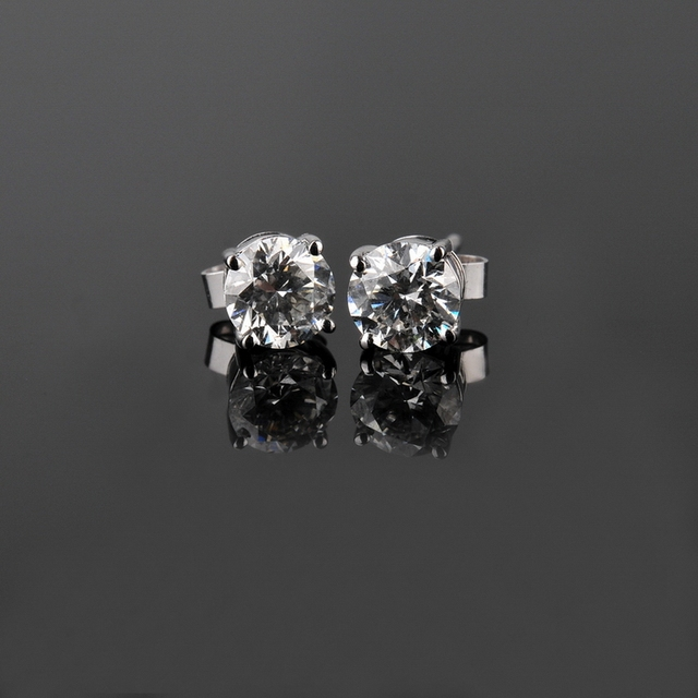 Wholesale Earrings Gold 0 5Ct piece Solid 14K White Gold Wedding Earrings Stud Tested Real Diamond.jpg 640x640 - Wholesale Earrings Gold 0.5Ct /piece Solid 14K  White Gold Wedding Earrings Stud Tested Real Diamond Jewelry for women