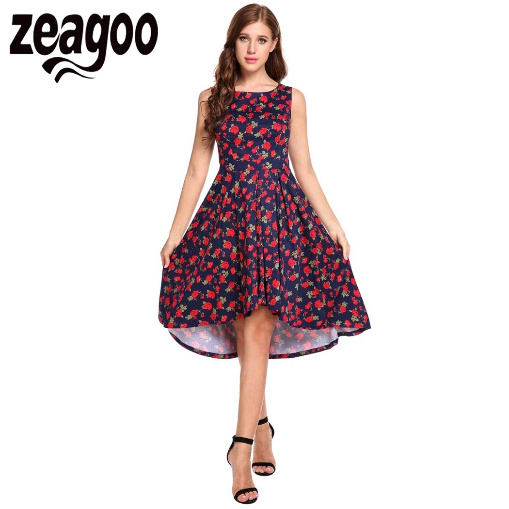 Zeagoo Women Casual Dress O Neck Sleeveless Prints A Line ...