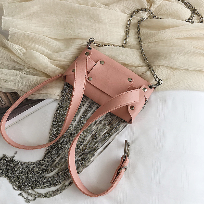 Image 5 - HOCODO PU Leather Fashion Fringed Women Messenger Bag Waist Pack Chain Extra Long Tassel Shoulder Bag Phone Bag Purse Bolsa 2019-in Shoulder Bags from Luggage & Bags