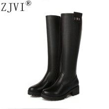 ZJVI women genuine leather thigh high boots womens winter autumn knee 2019 sexy black buckle square heels woman shoes