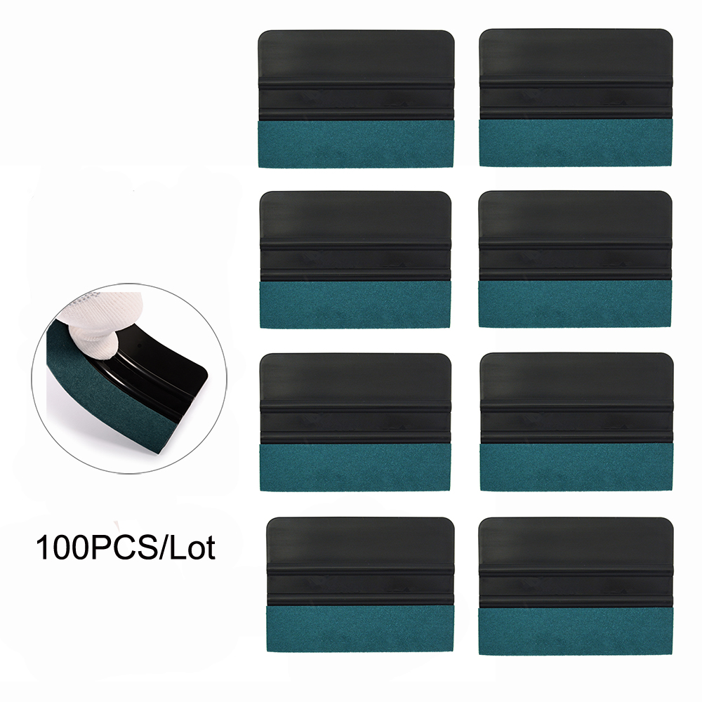 EHDIS 100pcs Suede Felt Squeegee Window Tint Tools Car Foil Wrapping Vinyl Sticker Film Install Tool House Cleaning Scraper